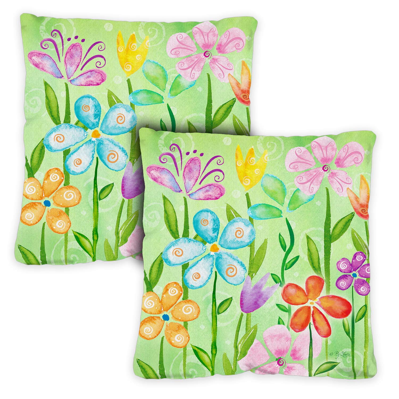 Toland Home Garden 721201 Spring Blooms 18 x 18 Inch Indoor/Outdoor, Pillow, Insert (2-Pack) by Toland Home Garden