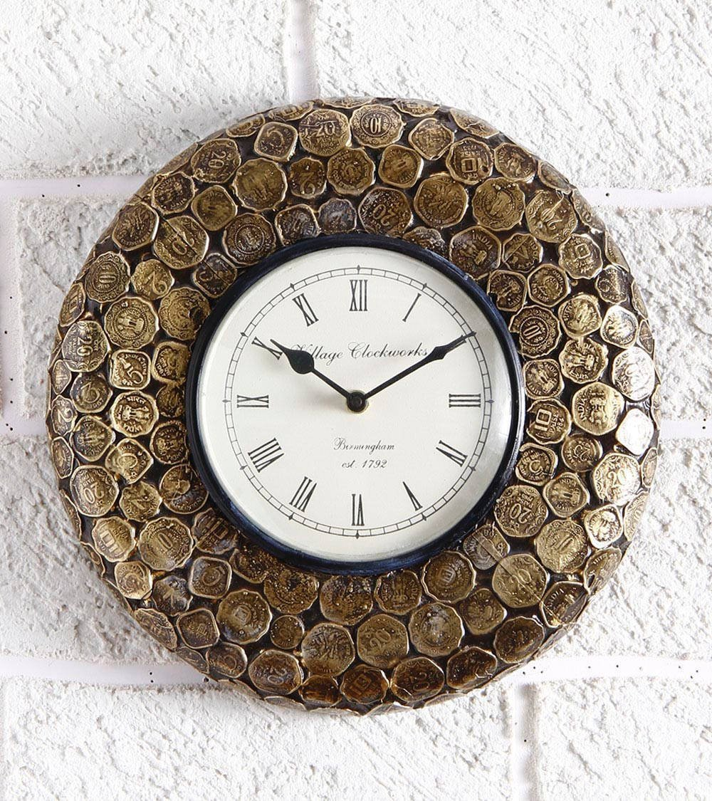 Buy swagger coin wall clock unique wall clock brass round wall buy swagger coin wall clock unique wall clock brass round wall clock vintage wall clock online at low prices in india amazon amipublicfo Gallery