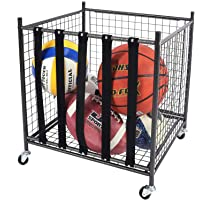 Mythinglogic Rolling Sports Ball Storage Cart, Sports Lockable Ball Storage Locker with Elastic Straps, Stackable Ball…