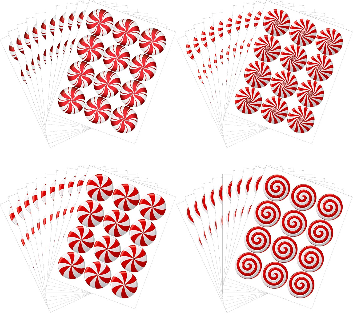 Outus 480 Pieces Christmas Stickers Round Candy Label Stickers Decals with Red and White Candy Designs for Seals Cards 2 Inches