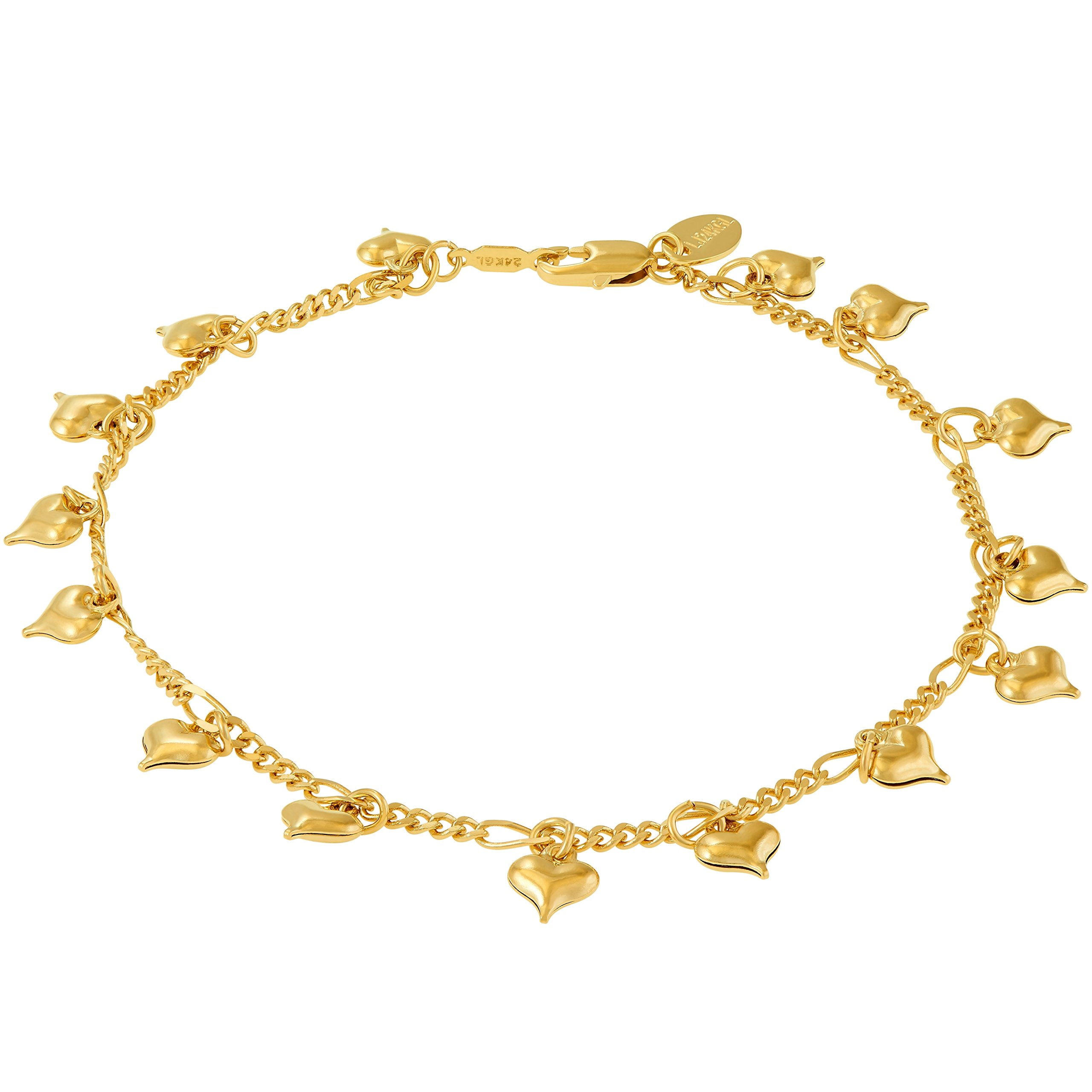 Lifetime Jewelry Anklets for Women and Teen Girls - 24K Gold Plated Chain with Dangling Hearts - Ankle Bracelet to Wear at Beach or Party - Cute Surfer Anklet - 9 10 and 11 inches (9)