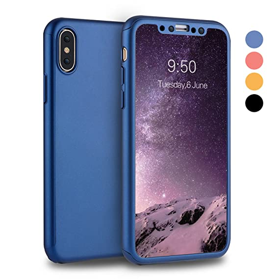 timeless design 19c42 49da2 iPhone X Case, iPhone 10 Case, VANSIN 360 Full Body Protection Hard Slim  Case Coated Non Slip Matte Surface with Tempered Glass Screen Protector for  ...