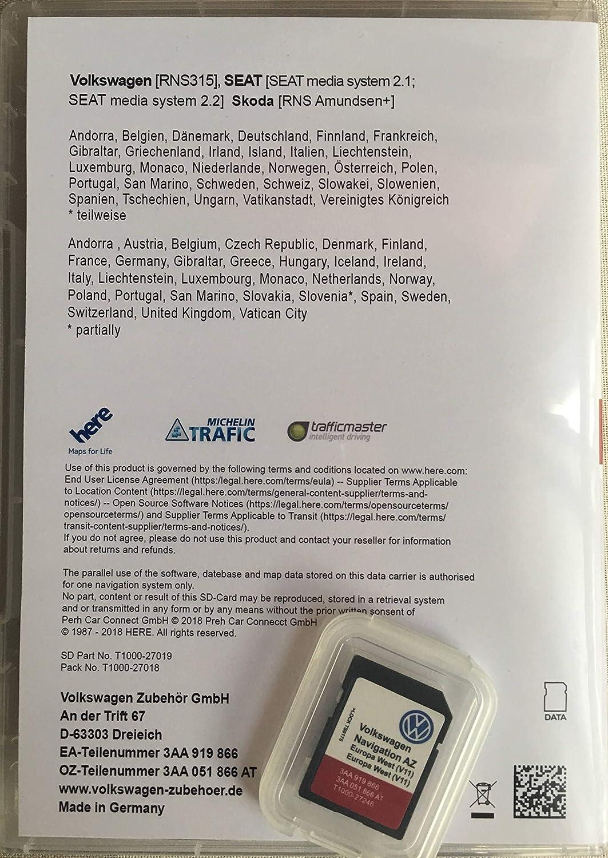 SD-Card Original VW Navigation AZ Europe RNS 315 V11 2019