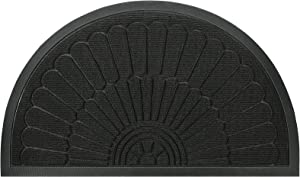 Mibao Half Round Door Mat, Durable Front Outdoor Rug, Heavy Duty Rubber Mats, Non-Slip Low Profile Semicircle Doormats for Entry, Garage, Patio, High Traffic Areas, 18