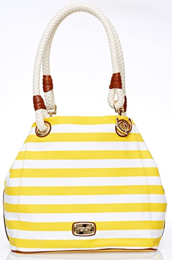 7c11a169989f Image Unavailable. Image not available for. Color  Michael Kors Marina  Striped Canvas Grab Bag ...
