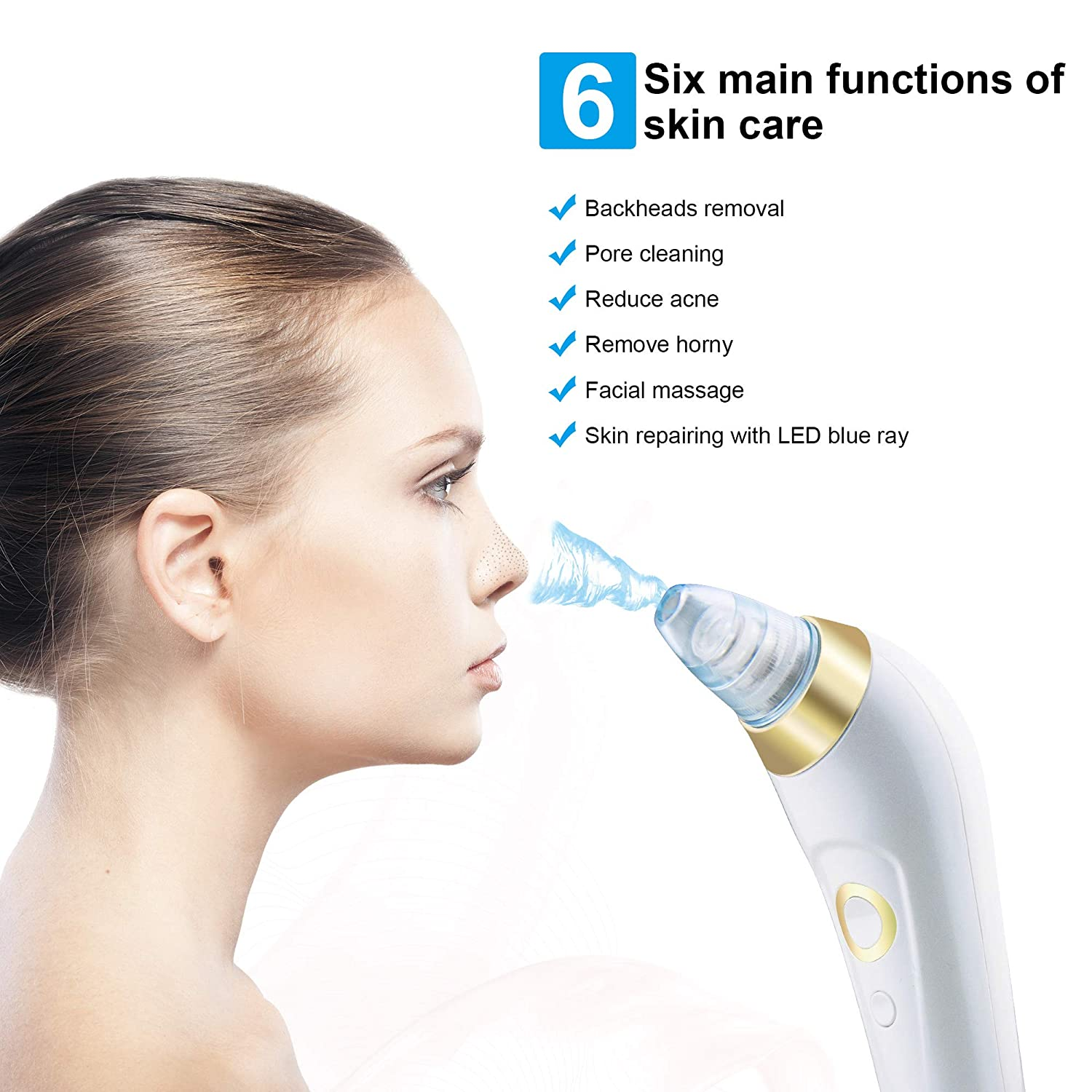 Blackhead Remover Pore Vacuum, AVEYRONA Electric Vacuum Facial Pore Cleanser, Acne Comedone Extractor with 3 Adjustable Suction Power and 5 Suction Heads, USB Rechargeable White