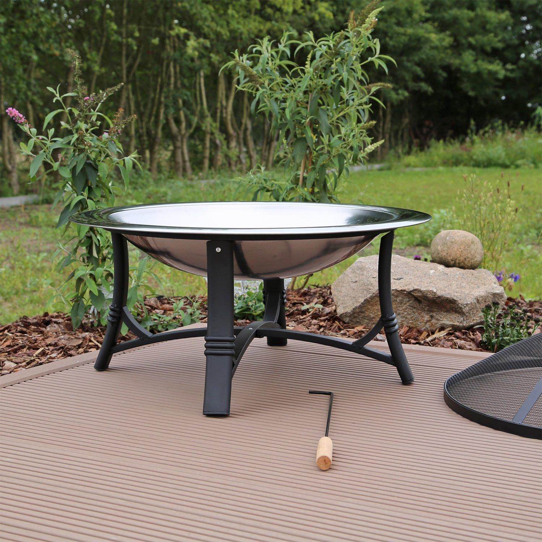 Feuerschale Edelstahl FS2 Feuerstelle Garten mit Grillrost: Amazon ...