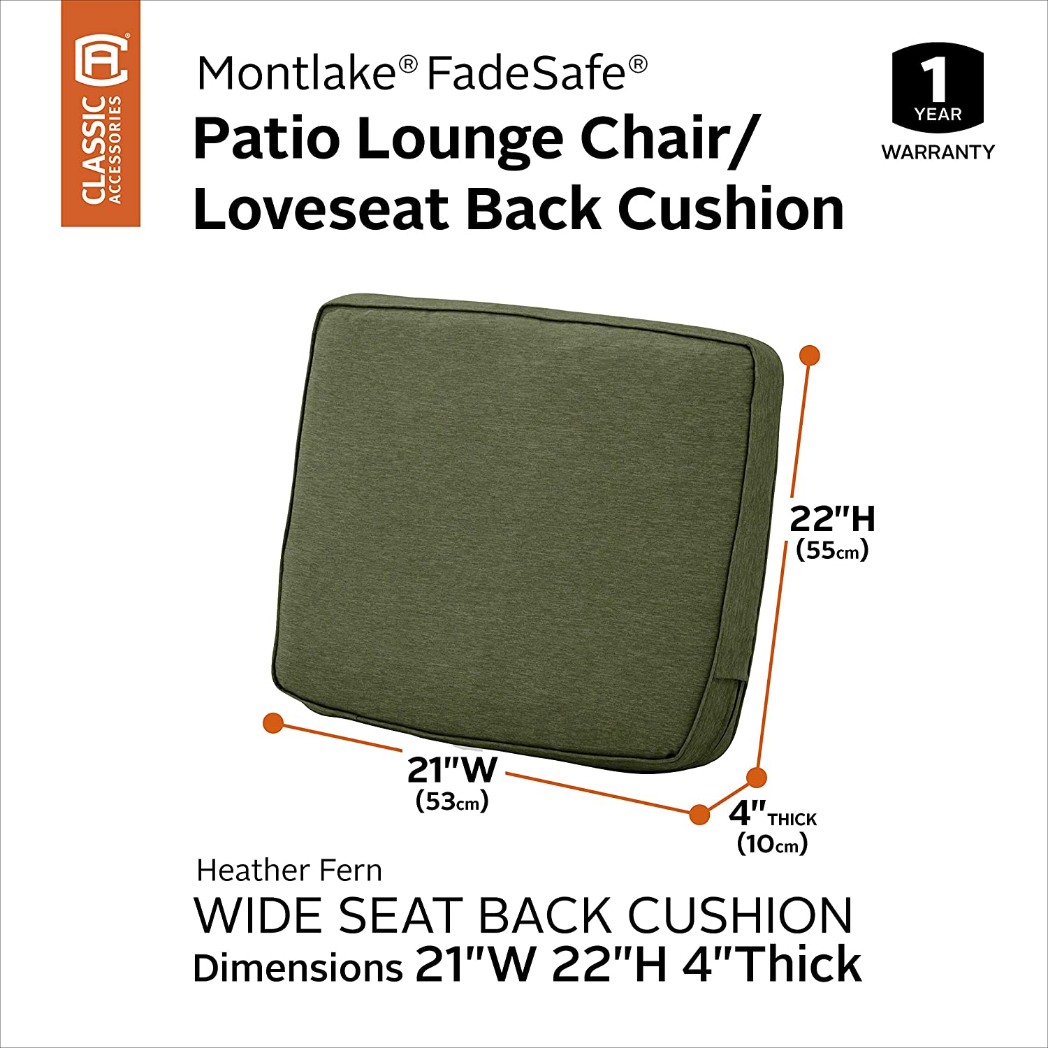 Classic Accessories Montlake Patio FadeSafe Back Cushion, Fern, 21 Wx22 Hx4 T