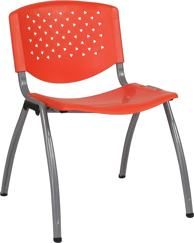 Flash Furniture HERCULES Series 880 lb. Capacity Orange Plastic Stack Chair with Titanium Gray Powder Coated Frame