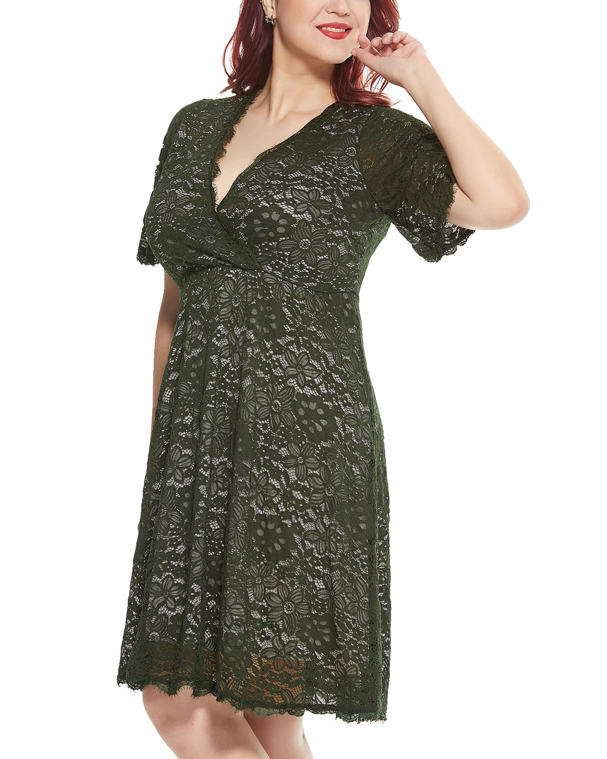 Women's Plus Size Flutter Sleeve V-Neckline Lace Flared Cocktail Party Dress Green 24W by Daci (Image #2)