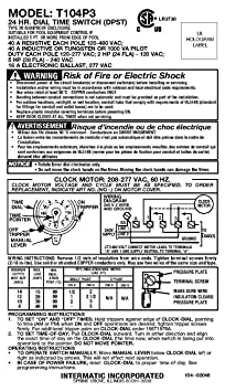 intermatic t104p3 208 277 volt dpst 24 hour mechanical time switch rh amazon co uk  t104p3 timer wiring diagram