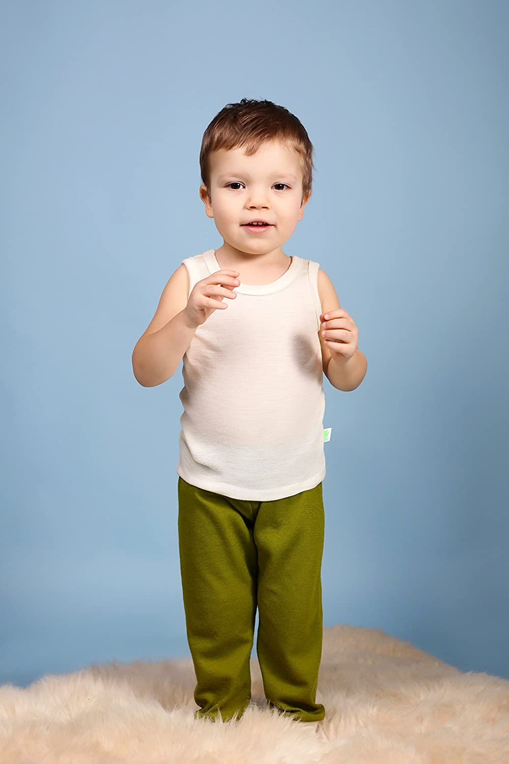 GREEN ROSE Kids Sleeveless T-Shirts Undershirts Baby Girl Boy Tee Shirts 100/% Merino Wool 3mo-12yr.