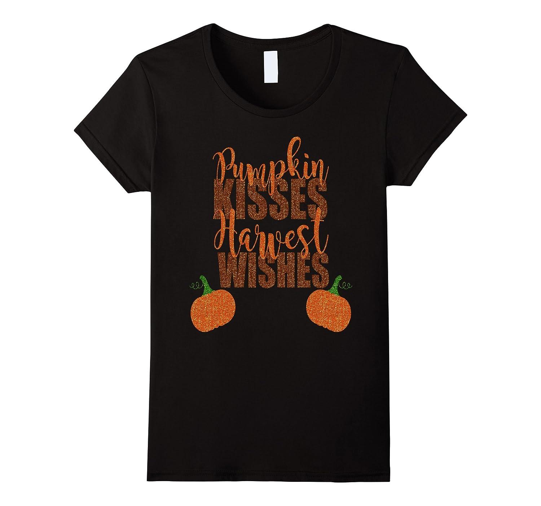 Autumn Shirt Fall Pumpkin Kisses Harvest Kids Mom Wife-Teeae