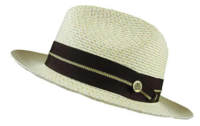 dc808ba906eb1 Image Unavailable. Image not available for. Color  Stetson Winston Straw  Hat Fedora Tan Size 7 3 8 quot  Oval 2 1