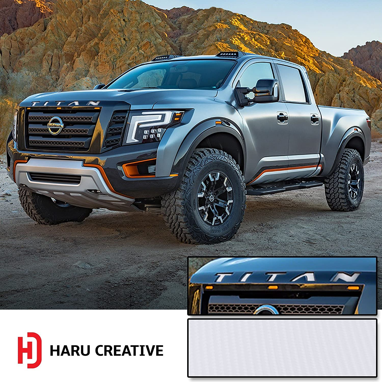 Front Hood Grille Emblem Letter Insert Overlay Vinyl Decal Sticker Compatible with and Fits Nissan Titan XD 2016 2017 2018-4D Carbon Fiber Gunmetal Haru Creative