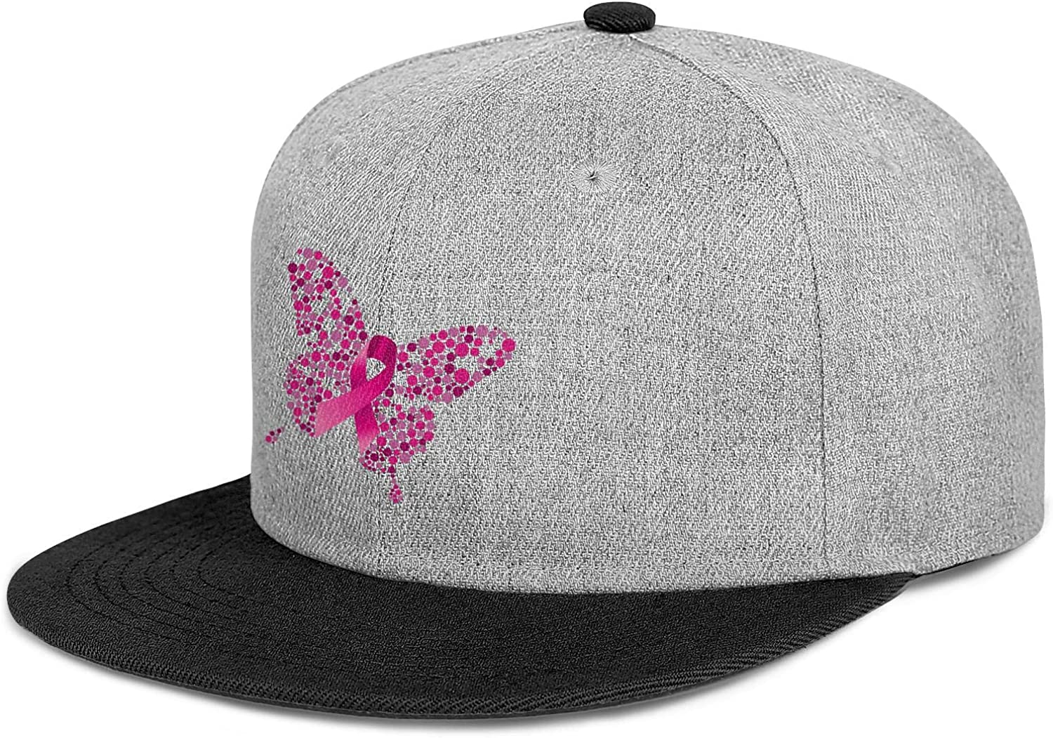 Breast Cancer Butterfly Mens Women Wool Cool Cap Adjustable Snapback Sports Hat