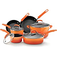 Rachael Ray 11480 Brights Nonstick 10 Piece Cookware Pots and Pans Set (Multiple Colors)