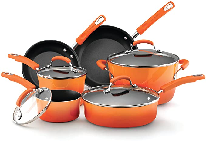 Rachael Ray Brights Nonstick Cookware Pots and Pans 10-Piece Set