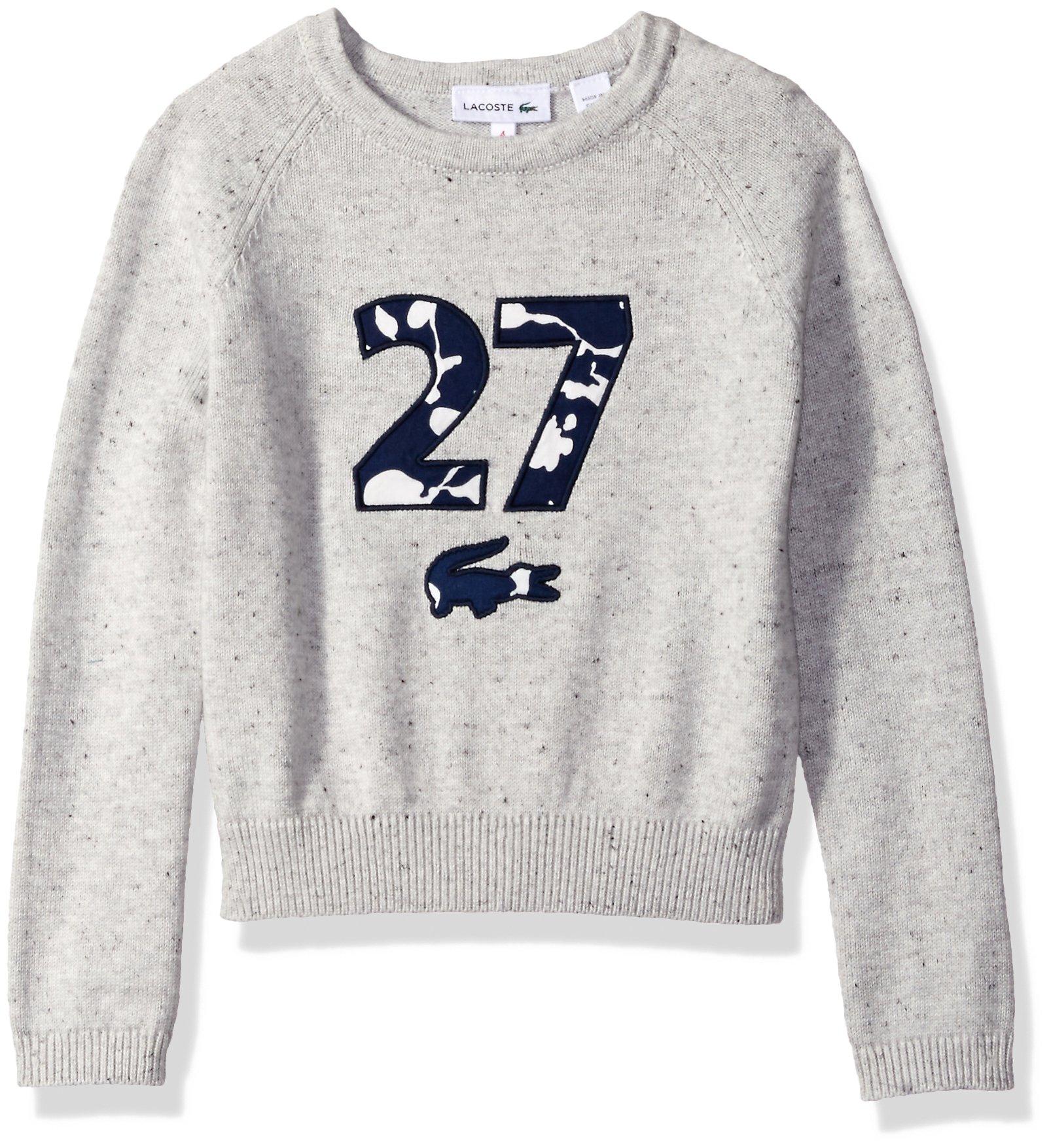 Lacoste Girls' Big Girls' Long Sleeve 27 Raglan Sweater, Light Tar Grey Chine, 12A