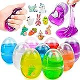 9 piezas de huevos de limo precargados con limo de cristal y pequeñas figuras de resina para niños, huevos de Pascua, cestas