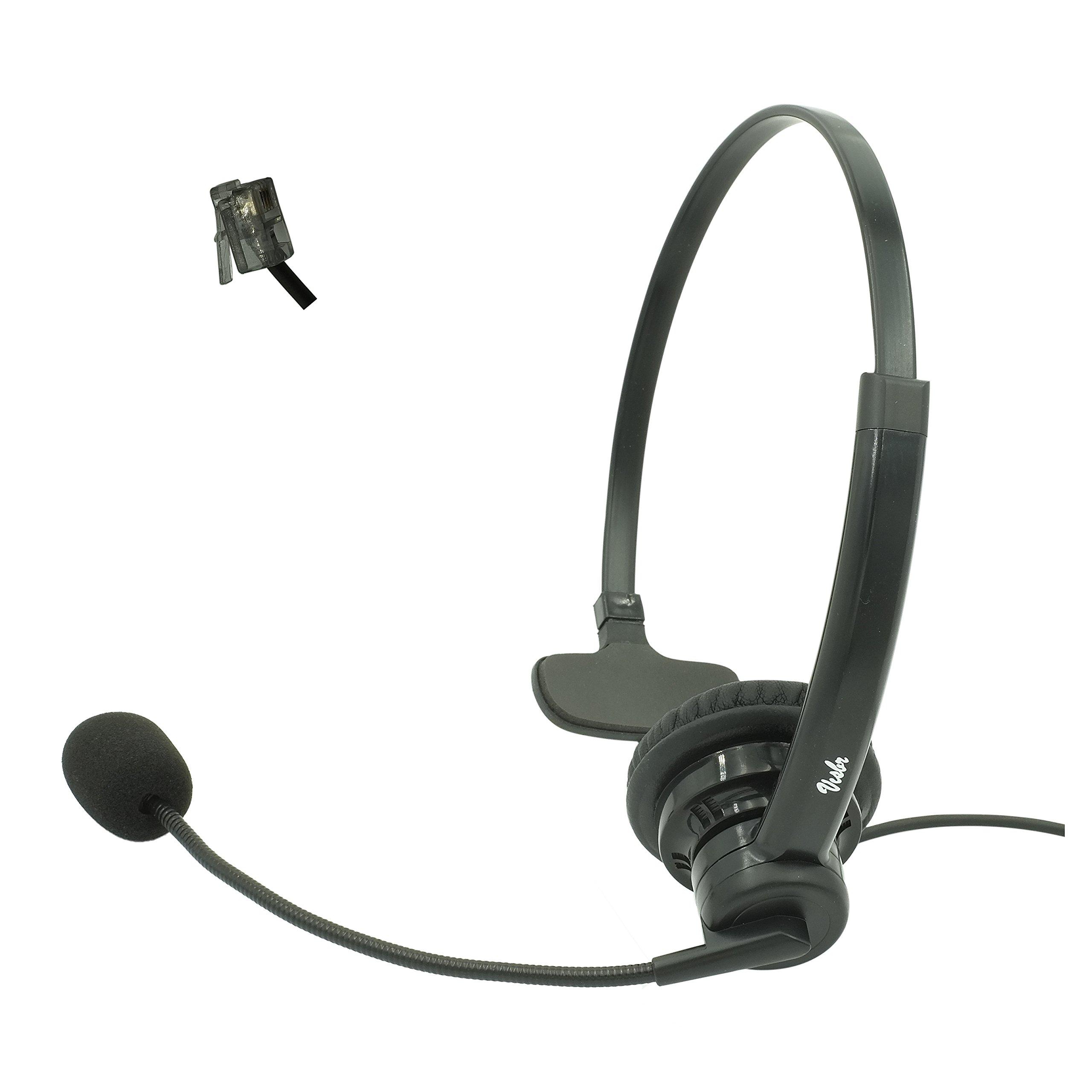 4-Pin RJ9 Monaural Headset for Most Desk Top Phones with RJ9 Headset Jack | Noise Canceling Office Headset | Business Headset | Compatible phone brands: Avaya Cisco Mitel Yealink Shoretel Grandstream