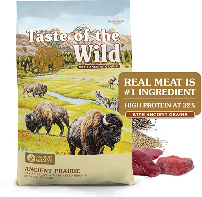 Taste of the Wild High Protein Real Meat Recipe Premium Dry Dog Food with Roasted Bison and Roasted Venison