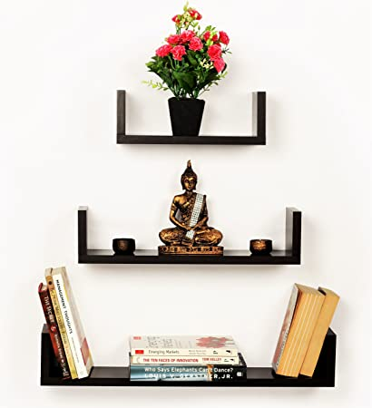 bluewud caesar set of 3 wall shelves wenge amazon in home kitchen rh amazon in 3 tier wall shelves 3 small wall shelves