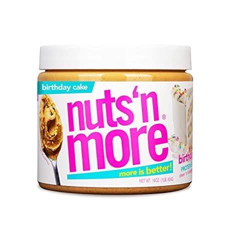 Nuts 'N More Birthday Cake Peanut Butter Spread, All Natural Keto Snack, Low Carb, Low Sugar, Gluten Free, Non-GMO, High Protein Flavored Nut Butter (16 oz Jar)