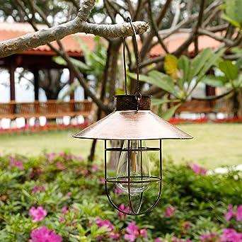 Farol solar de cobre para exteriores con bombillas LED cálidas, apto para jardín, patio, playa: Amazon.es: Iluminación