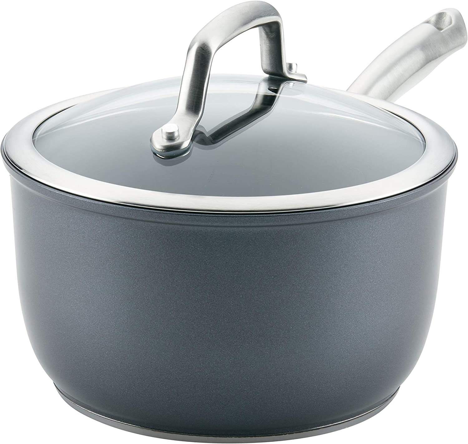Anolon Accolade Forged Hard-Anodized Precision Forge Saucepan with Lid, 2.5 Quart, Moonstone