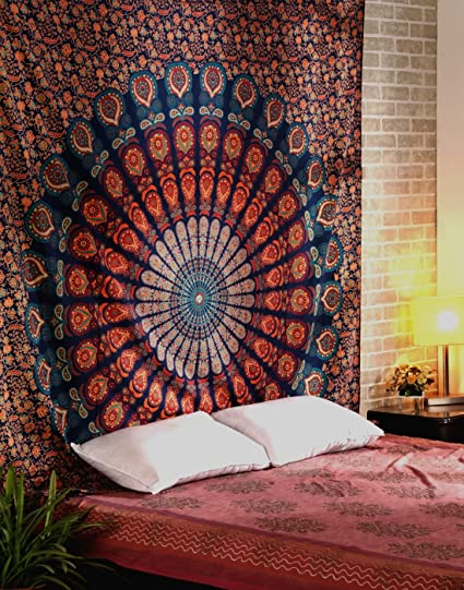 Charming Indian Mandala Wall Hanging Tapestry Bed Sheet Table Cover Orange  90x84u0026quot;