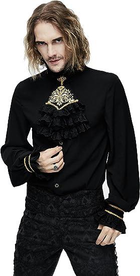 Devil Fashion - Camisa estilo gótico para hombre, estilo steampunk, estilo victoriano, de manga larga, estilo barroco, con cuello de camisa con volantes Negro Negro (3XL: Amazon.es: Ropa y accesorios
