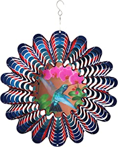 Metal Wind Spinners Outdoor Large,12inch Hummingbird Craft Spinner Hanging Patio Decor,Yard Ornaments 3D Kinetic Wind Spinners,Blue Bird Wind Spinner Gifts,Wind Catchers & Spinners for Garden Art