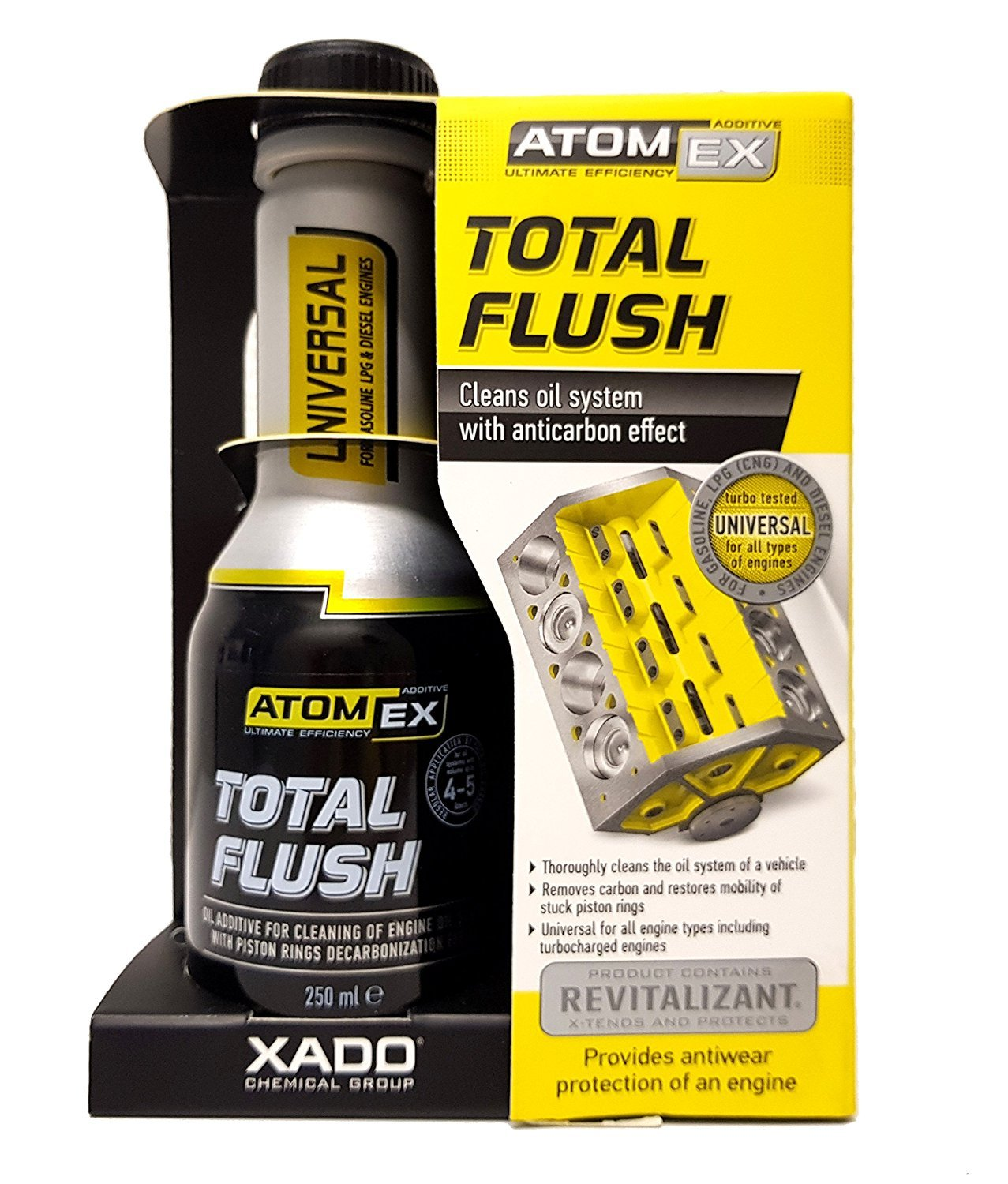 XADO Engine Oil System Cleaner Anti-Carbon Effect - Removes Contamination & Engine Sludge - ATOMEX Total Flush Revitalizant (Bottle, 250ml) XADO Chemical Group XA 40613