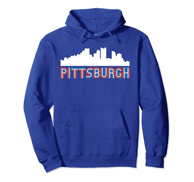 Red White Blue Retro Pittsburgh Pennsylvania Skyline Hoodie Ah My