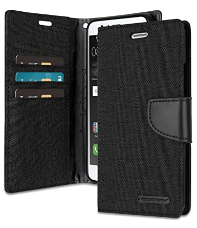 half off 321d8 0bcd4 Huawei P9 Lite Wallet Case with Free 4 Gifts [Shockproof] GOOSPERY Canvas  Diary Ver.Magnetic [Denim Material] Card Holder with Kickstand Flip Cover  ...