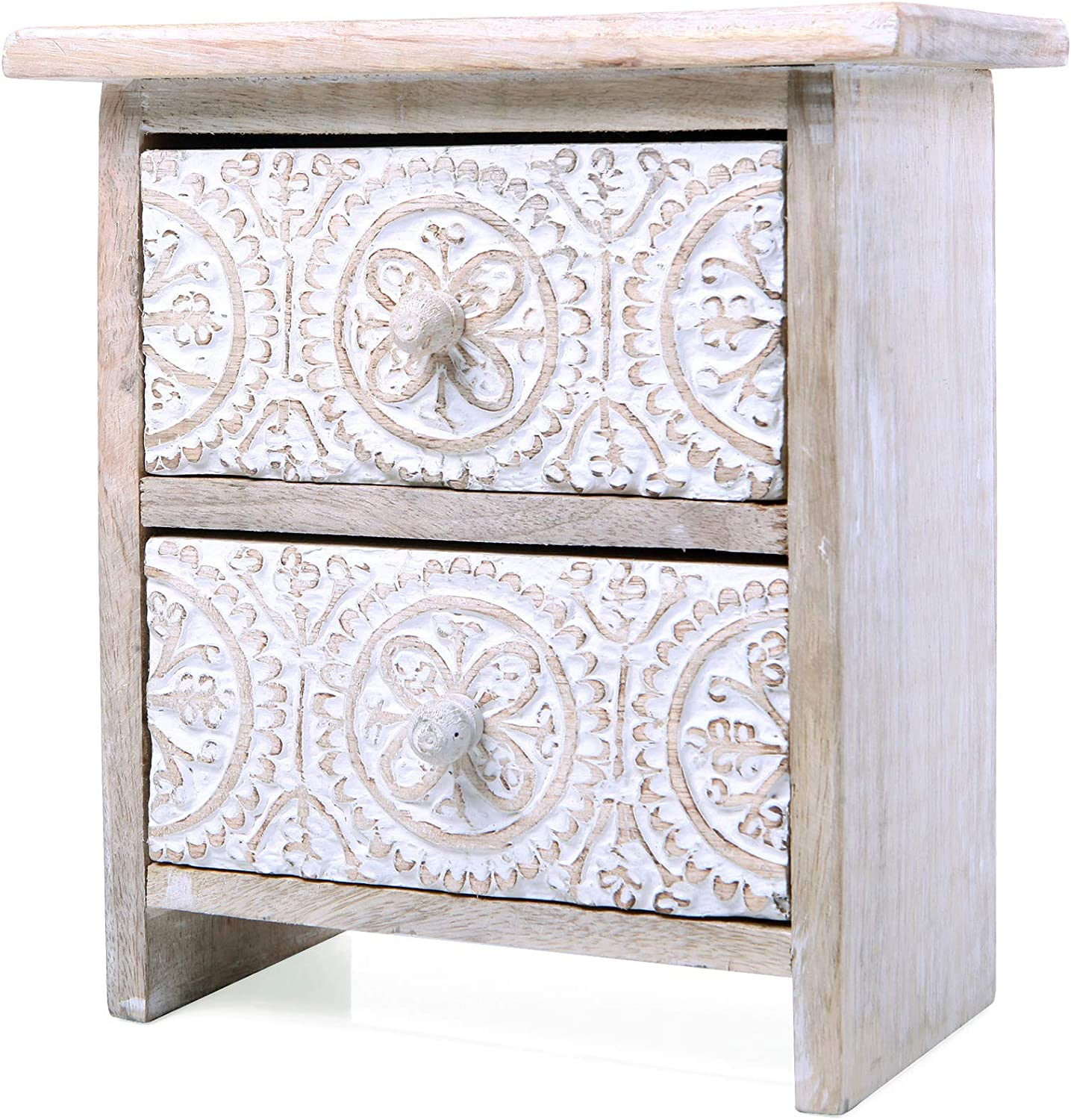 NIKKY HOME Hand Carved Desktop Drawer Storage Decorative Box, Bohemian Style Mango Wood Design with White Distressed Finish 7.87 x 8.07 x 4.33 inch