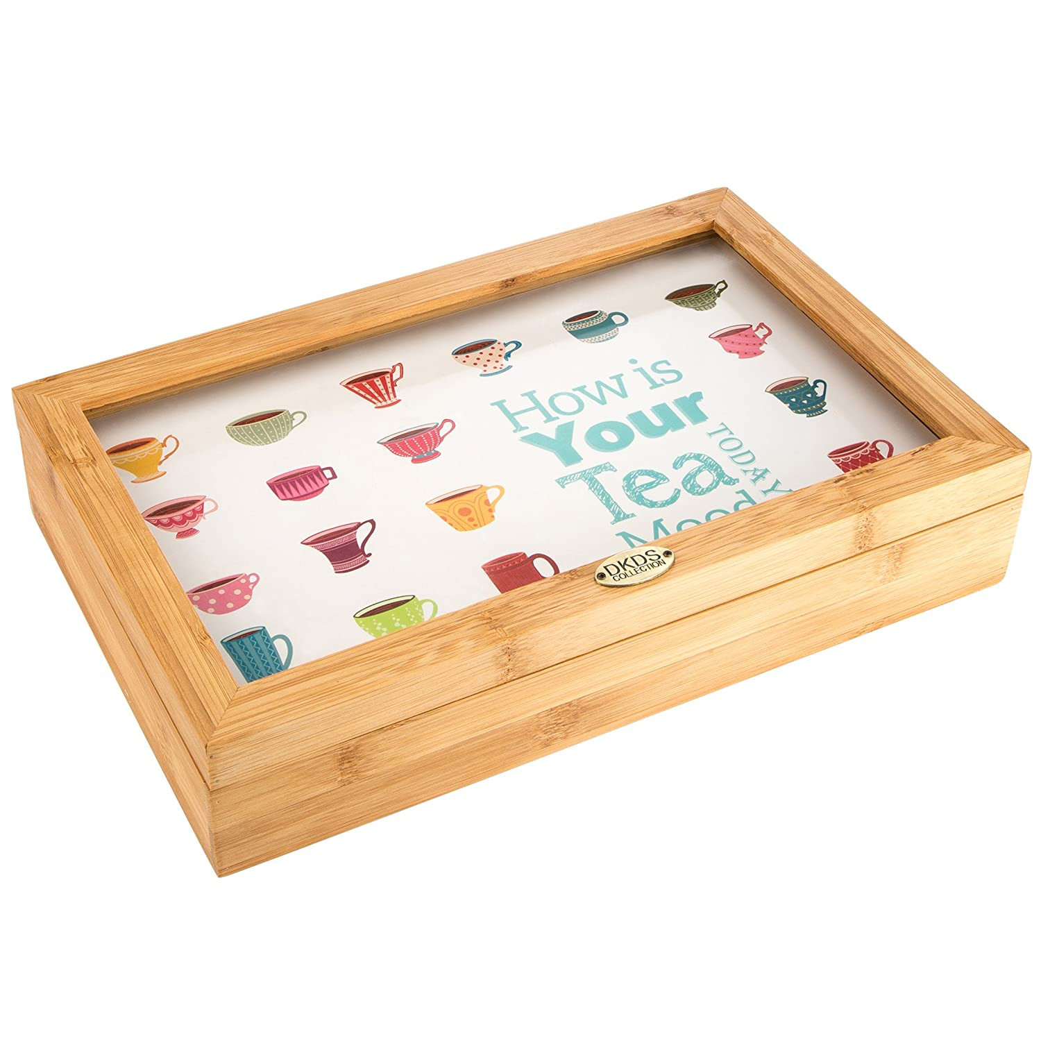 Levivo Tea Box / Teabag Box made of Bamboo with Window and 8 Compartments, Japanese style – for tea bags, wooden tea chest, stores up to 8 varieties of tea without losing aroma ASS200200000010