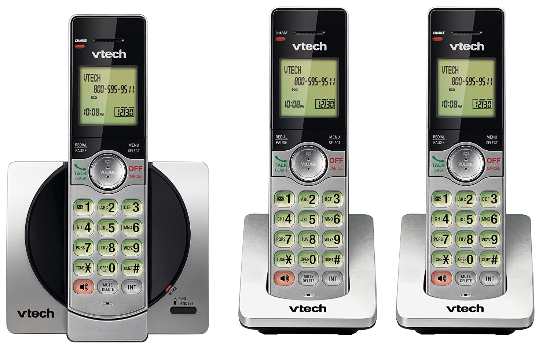 Full Duplex Handset Speakerphones Backlit Keypads and Screens VTech DECT 6.0 Three Handset Cordless Phone with CID Call Block Silver//Black
