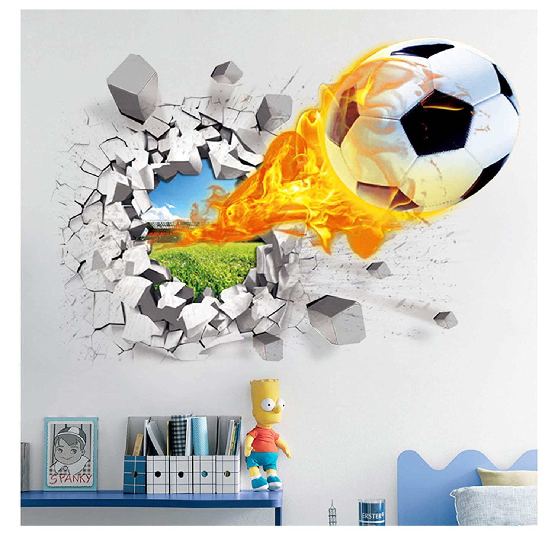WONZOM - Vinilo Adhesivo de Pared 3D, diseñ o de baló n de fú tbol atravesando Pared diseño de balón de fútbol atravesando Pared