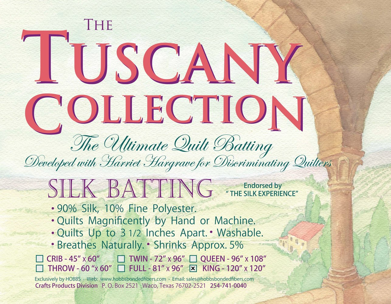 Hobbs Tuscany Silk Quilt Batting King Size (120 x 120) TS-120
