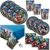 Avengers Theme Birthday Party Supplies Set - Serves 16 Guests - Table Cover, Large and Small Plates, Cups, Napkins and…