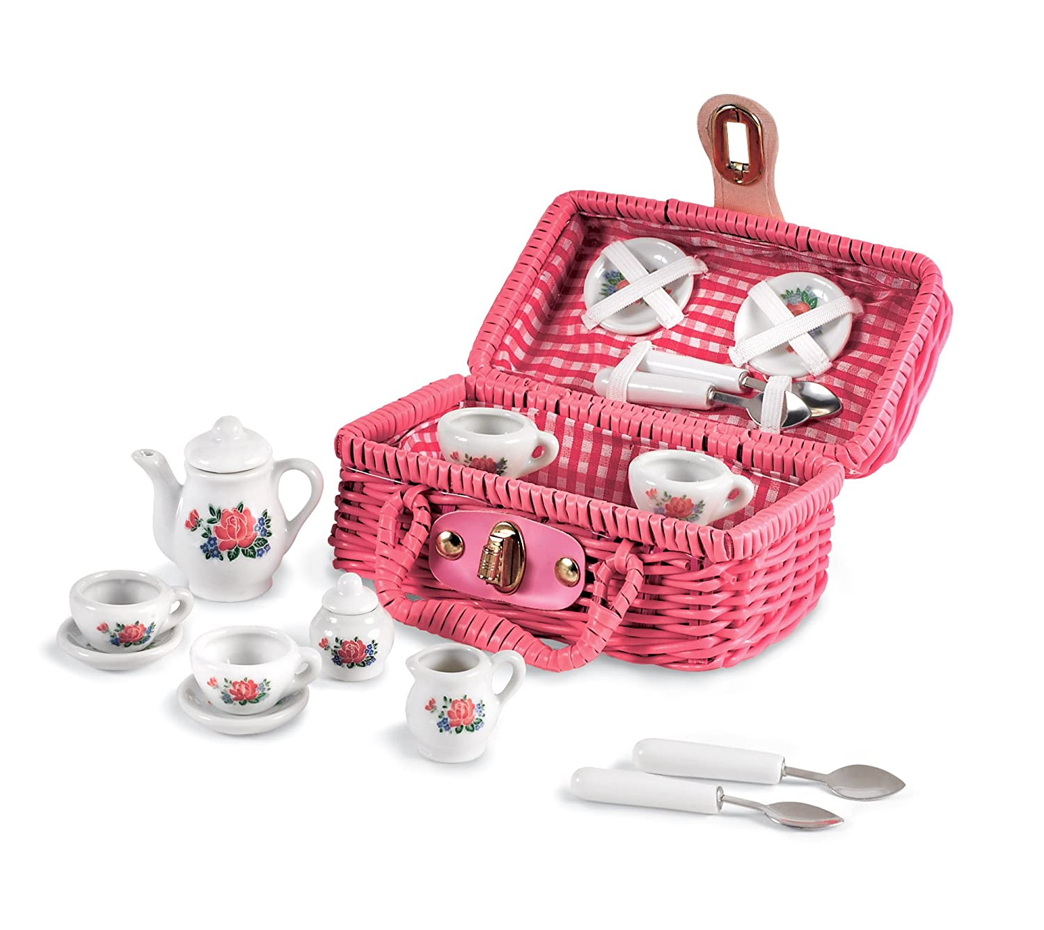 Mini Toy Tea Set - 17 Pieces in a Pink Wicker Basket - Perfect for Dress Up and Imagination Play