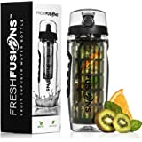Fresh Fusions 32 oz Fruit Infuser Water Bottle And Sleeve Combo Set - Now With Full Length Infuser