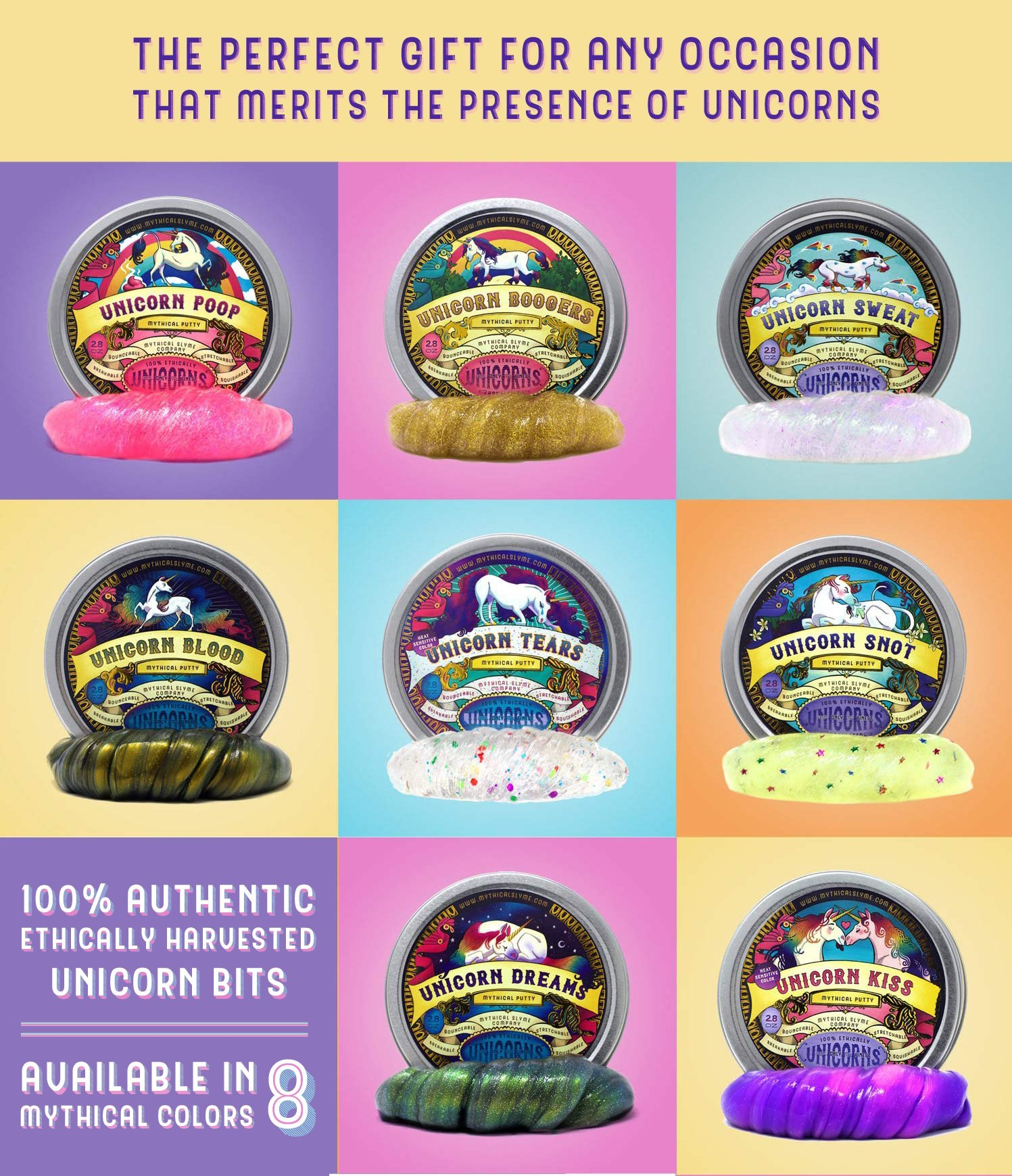 Mythical Slyme Unicorn Putty & Unicorn Slime - Unique Unicorn Gifts - Perfect Birthday Gift for Girls - Unicorn Toys - Floam, Glitter Slime, Clear Slime, Stress Ball -Kiss