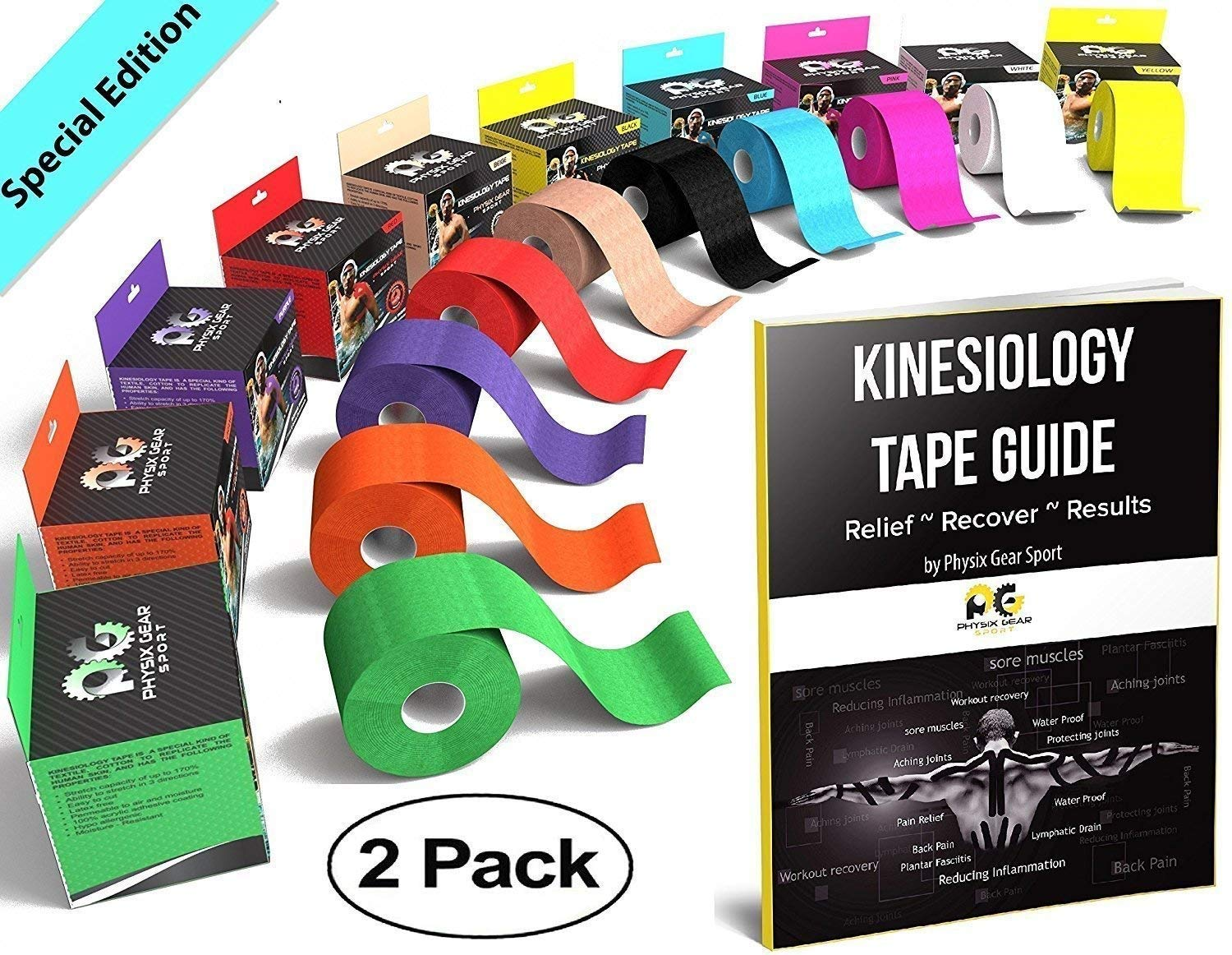 Physix Gear Sport Kinesiology Tape - Free Illustrated E-Guide - 16ft Uncut Roll - Best Pain Relief Adhesive for Muscles, Shin Splints Knee & Shoulder - 24/7 Waterproof Therapeutic Aid (2PK BLU)
