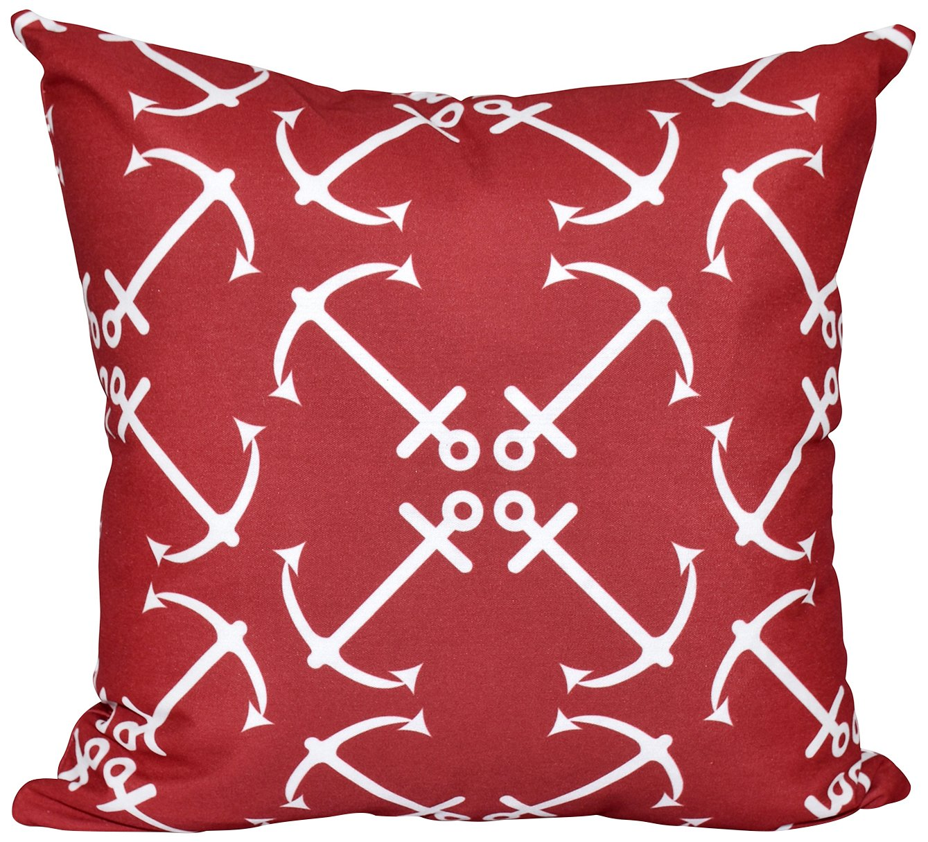 Anchors Up Geometric Print Pillow 26x26 Red E by design PGN445RE1-26 26 x 26-inch