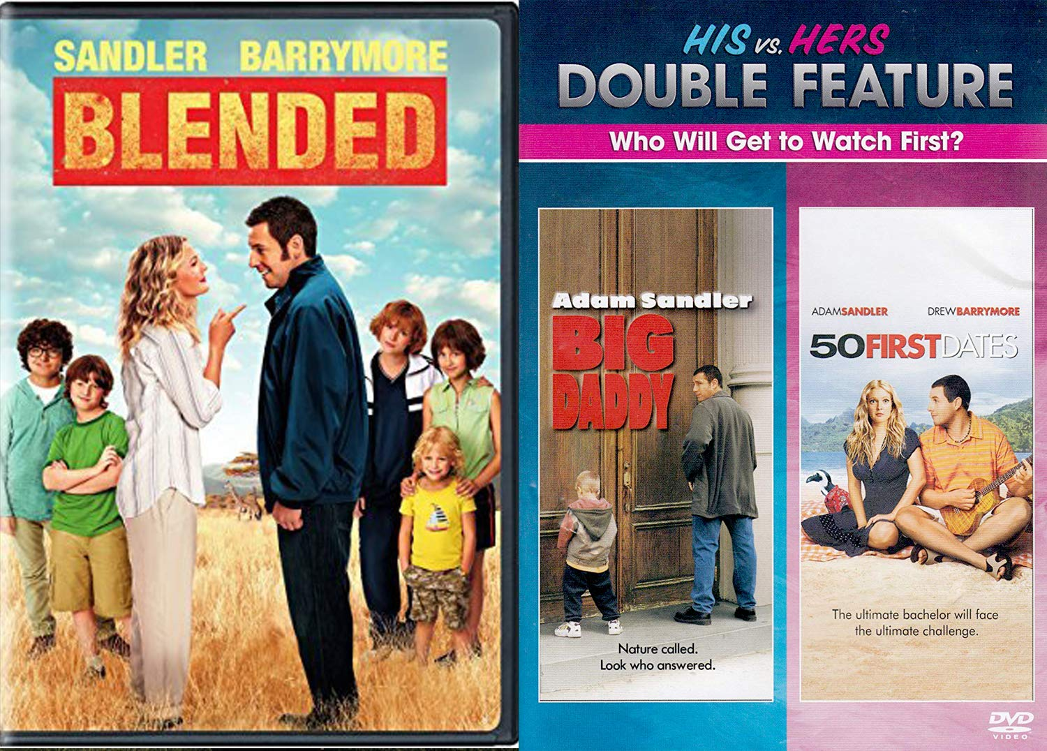 His Hers Fall In Love Adam Sandler Drew Barrymore 50 First Dates Dvd Blended Comedy Triple Feature Big Daddy Bundle Movie Collection Set Adam Sandler Drew Barrymore Movies Tv