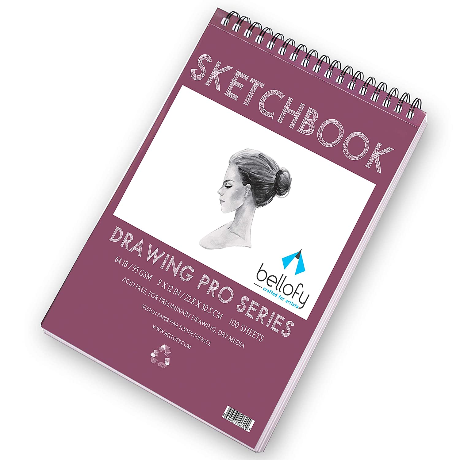 Bellofy 100 Sheet Sketch Book 9x12-Inch Sketching and Drawing Paper Top Spiral-Bound Sketchpad for Artist 64 IB 95 GSM Micro-Perforated /& Acid Free