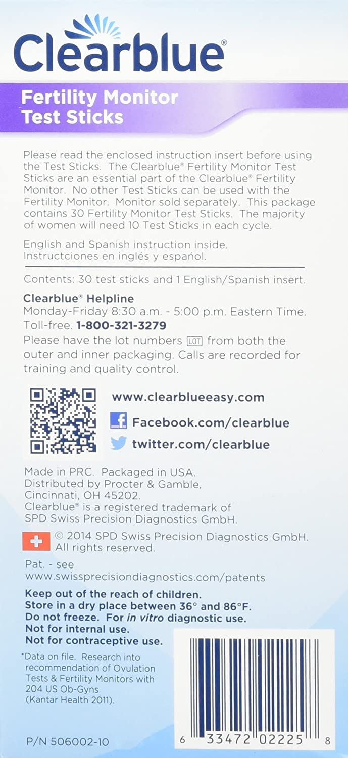 Clearblue Easy Fertility Monitor Test Sticks, 30 Count (Pack of 1)